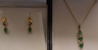 9ct gold emerald & diamond pendant on chain & a matching pair of earrings
