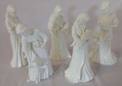 5 Royal Worcester figures The Christening, New Arrival, First Steps, Once Upon A Time and Sweet