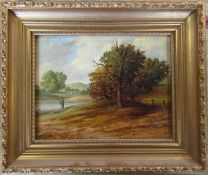 Gilt framed oil on canvas of a rural scene possible initials C.M.M 32 cm x 27 cm (size including