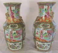 Pair of late 19th century Cantonese vases with applied dragons H 46 cm