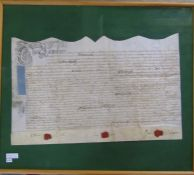 Framed Indenture dated 1st April 1720 (reign of George I) made between William Routh and Jane his