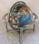 Large Lapis gemstone globe on pewter stand with central compass, total size W 42 cm H 45 cm, globe