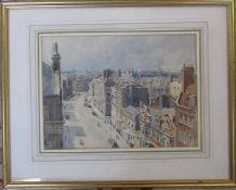 Framed watercolour of a street / city scene 52 cm x 42 cm (size including frame)