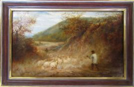 Oil on canvas of a shepherd with sheep 72.5 cm x 47 cm indistinctly signed (size including frame)