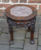 Carved Chinese plant stand with marble top