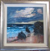 Framed and glazed acrylic painting of a coastal scene entitled 'Passing storm' by Scottish artist