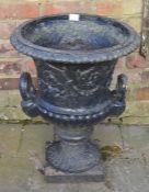 Classical form 2 handled cast iron garden urn H 60cm