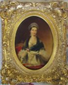 Gilt framed oil on board of Queen Victoria after E