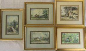 Set of 5 framed watercolours by Marion Thornton (22 cm x 17 cm, 17 cm x 22 cm, 22 cm x 19 cm ) (size