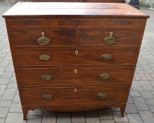 Georgian veneer chest of drawers with plate handles & splay bracket feet