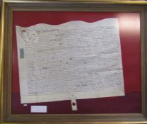 Framed Indenture dated the 20th April 1708 (reign of Queen Anne) made between Thomas Higham and John