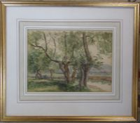 Framed watercolour of trees initialled CWP dated 1937 (Cecil Westland Pilcher 1870-1943) 45 cm x