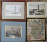 Map of Lincolnshire, Engravings of Boston by J M W Turner and Will Daniell & a limited edition