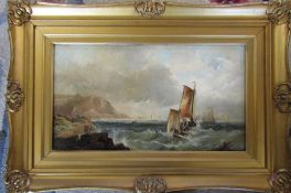 Gilt framed oil on canvas of a nautical scene signed lower left corner 48 cm x 33 cm (size including
