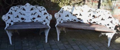 2 fern & blackberry cast iron Coalbrookdale style benches