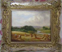 Gilt framed oil on canvas of a harvest scene by W H Lewis 35 cm x 30 cm (size including frame)