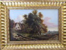 Gilt framed oil on canvas of a rural scene, appears unsigned 39 cm x 29 cm (size including frame)