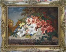 Gilt framed oil on board still life of flowers 56 cm x 46 cm (size including frame)