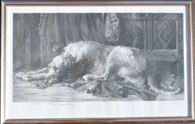 Framed print of an Irish deerhound after Herbert Dicksee frame size 72cm by 46cm