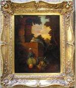19th century gilt framed oil on board / panel of birds and fruit initialled C M 48 cm x 56 cm (