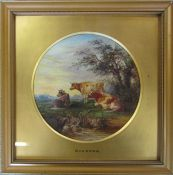 Framed painting of cattle by Burrows 28 cm x 28 cm (size including frame)