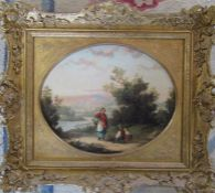 Gilt framed Victorian oil on board of a young woman with a basket by G Lara (fl 1862-1872) 44 cm x