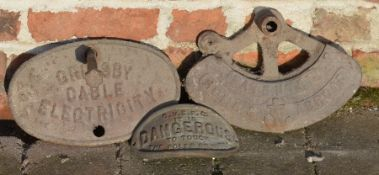 Grimsby Cable Electricity sign & 2 other castings