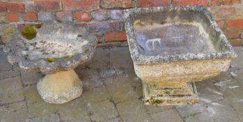 Concrete garden urn & bird bath