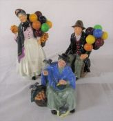 3 Royal Doulton figurines - The Balloon Man HN1954, Biddy Penny Farthing HN1845 and Tuppence a Bag