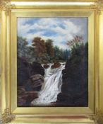 Framed oil on board of a waterfall signed and dated 1904 56 cm x 66 cm (size including frame)