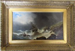 Gilt framed nautical oil on canvas 'the Abandoned' possibly by H Sherborne 66 cm x 45 cm (size