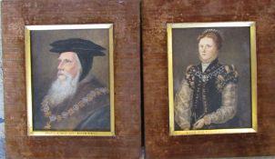 Pair of Victorian velvet framed watercolours of Anne Countess of Warwick & John Earl of Bedford 24