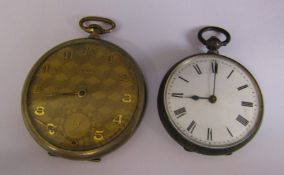 Continental silver fob watch & a rolled gold 'Tempo' pocket watch