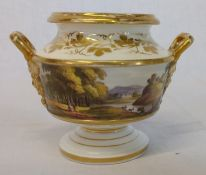 Early 19th century incense burner with hand painted landscape scene height 9cm missing lid