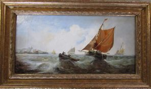 Victorian oil on canvas of a nautical scene by J P Knight dated 1894 49 cm x 29 cm (size including