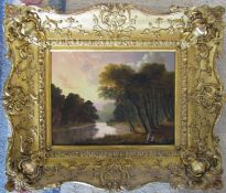 Early Victorian gilt framed oil on board of a tree lined river 32 cm x 28 cm (size including frame)