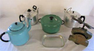 Cast iron lidded pot, enamel tea pot, 2 stainless steel large tea pots & a set of scales