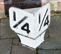 Cast iron railway 1/4 mile sign