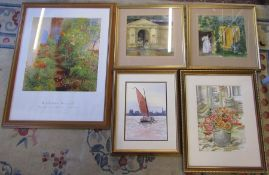 4 framed watercolours and a poster print by Nicholas Verrell
