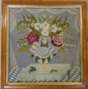 Maple framed Victorian tapestry of a vase of flowers 55 cm x 58 cm (size including frame)