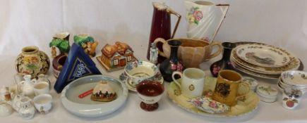 Selection of ceramics including decorative plates, crested china, ashtrays etc.