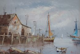 Large oil on canvas depicting harbour scene signed Brian ? 91cm x 59.5cm