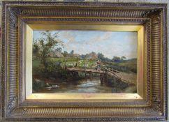 Oil on board of a rural bridge scene by F G Skeats 39 cm x 29 cm (size including frame)