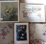 Watercolour of Hutton Bussel by Miller Patrick, Don Giovanni opera poster 1968 and a floral print by