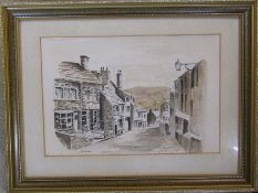 Framed pen and ink drawing of Haworth by W Dickinson 1985 45 cm x 34 cm (size including frame)