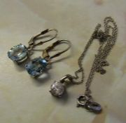 Pair of silver (925) topaz earrings & a silver (925) chain and pendant
