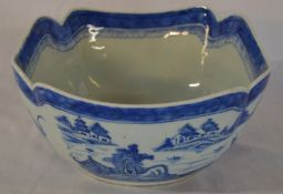 19th century Chinese porcelain blue & white salad bowl with hairline crack H 12cm D 24cm