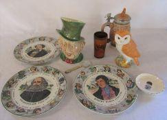 Various ceramics inc Beswick character jug, Royal Doulton plates & a Beswick owl