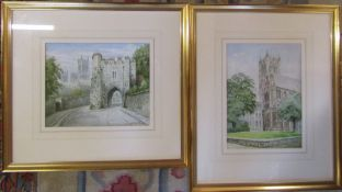 Pair of gilt framed watercolours of Lincoln Cathedral by A H Findley 51.5 cm x 47 cm and 45 cm x
