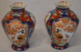 Pair of Imari vases H 16cm